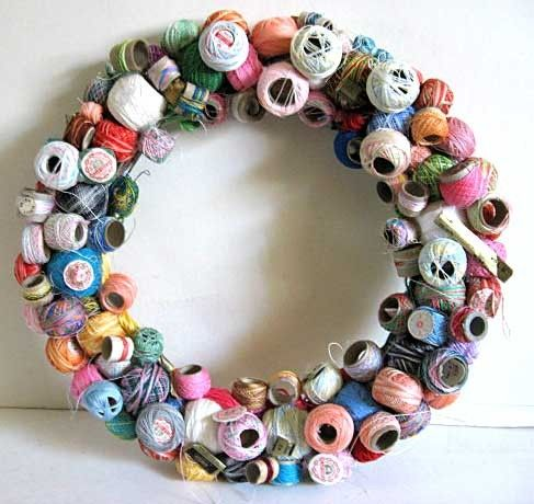 Unusual Wreath Made from Vintage Spools of Tatting Threads Folky and One of a Kind for Your Door or Wall