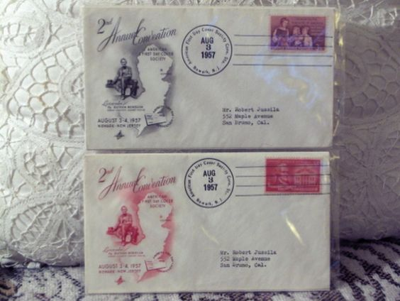 http://ajunkeeshoppe.blogspot.com/  Two 2nd Annual First Day Convention Stamp Cover 1957 3c 8ozP725B4HP1136