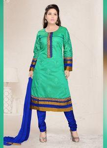 Art Silk Fabric & Royal Blue Color Attractive Churidar Style In Straight Cut Look