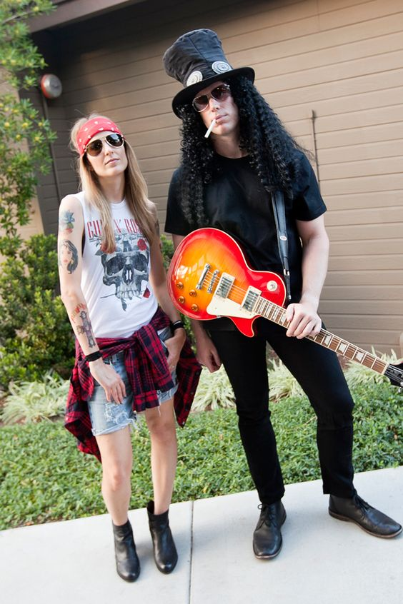 Axl Rose & Slash of Guns N' Roses — fun & easy couples costume for Halloween!