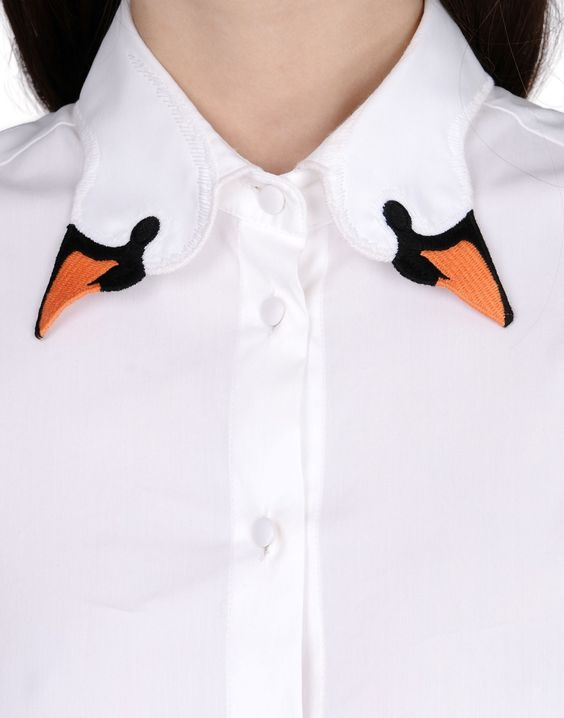 REDValentino - Swan collar embroidered cotton button up shirt