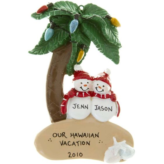 Hawaiian Tropical Couple Christmas Lights Personalized Ornament | MonsterMarketplace.com