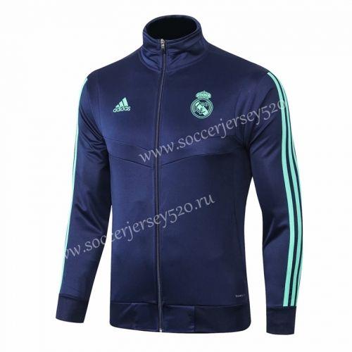 2019 2020 Real Madrid High Collar Royal Blue Thailand Soccer Jacket 815 Real Madrid Cuello Alto Chaquetas