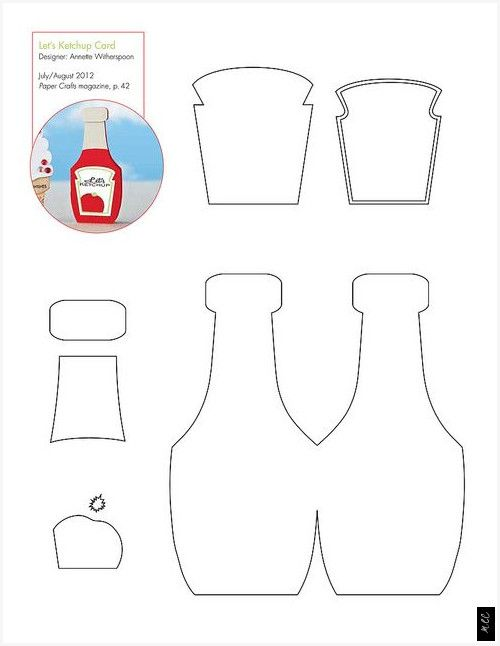 Kostenlose Ketchup Flasche Muster Vorlage In 2020 Filzmuster Fur Lebensmittel Filzmuster Kinder Kaufladen
