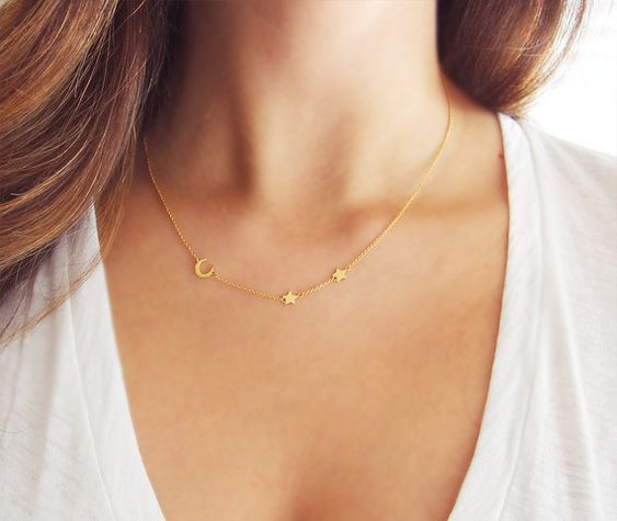 Moon and Star Necklace Delicate Gold Necklace Crescent