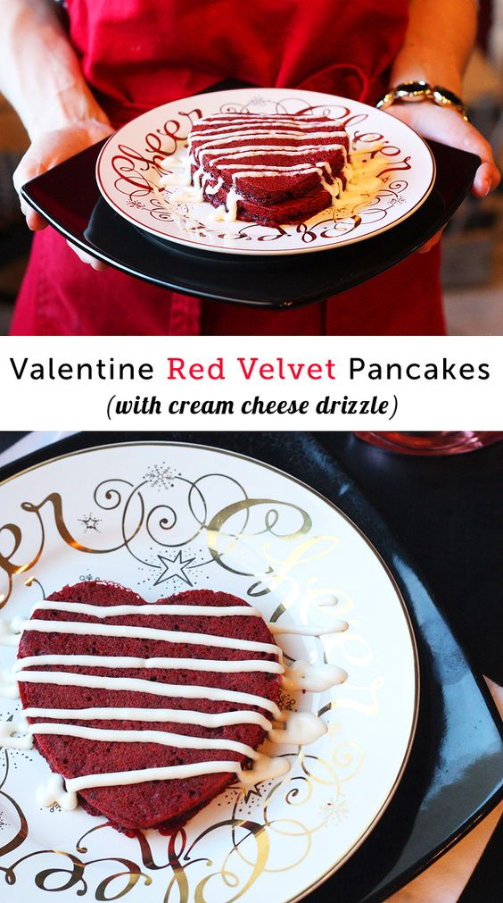 Red velvet pancakes, Red velvet and Cream cheese frosting ...