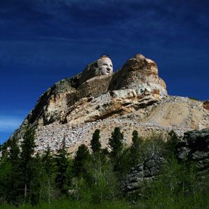 The Crazy Horse Memorial is a monument under construction in the Black Hills of South Dakota