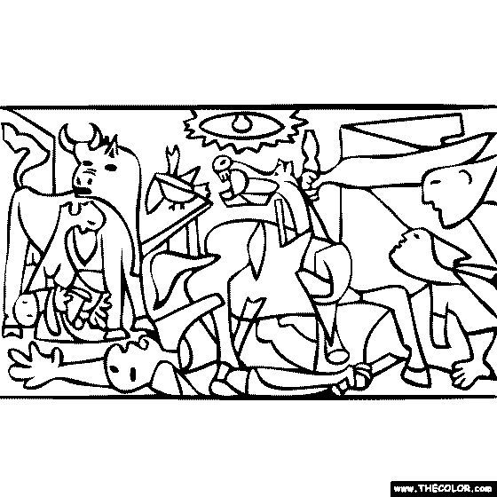 Pablo Picasso Coloring Pages Cuadro Guernica