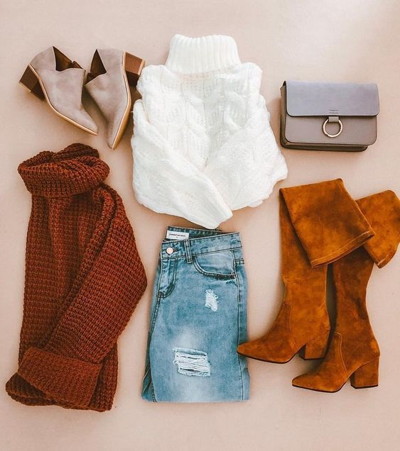 #hotseller #bestselling #sweater #sweaterweather #knitwear #turtleneck #bag #crossbodybag #cozy #casualoutfit #americanstyle #ootd #outfitinspo #outfitideas #fall #falloutfits #fashion #fallfashion #jeans #distressedjeans #overthekneeboots #otkboots #boots #ankleboots #faltlay #lovegm #goodnightmacaroon.co