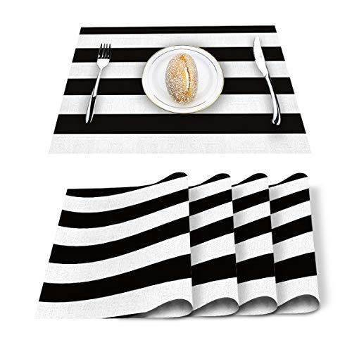 Vandarllin Placemats Set Of 6 Black White Wide Striped Polyester Stain Resistant Table Mats Washable Placema White Placemats Placemats Dining Table In Kitchen