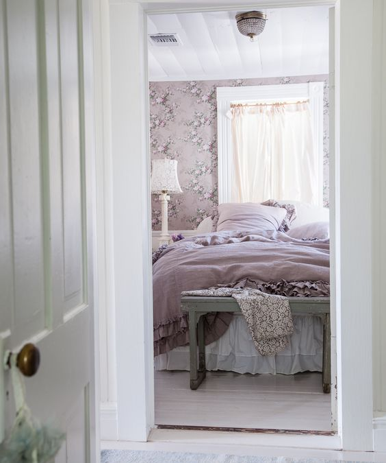 A romantic and feminine #shabbychic style bedroom called meadow manor at the prairie by #rachelashwell