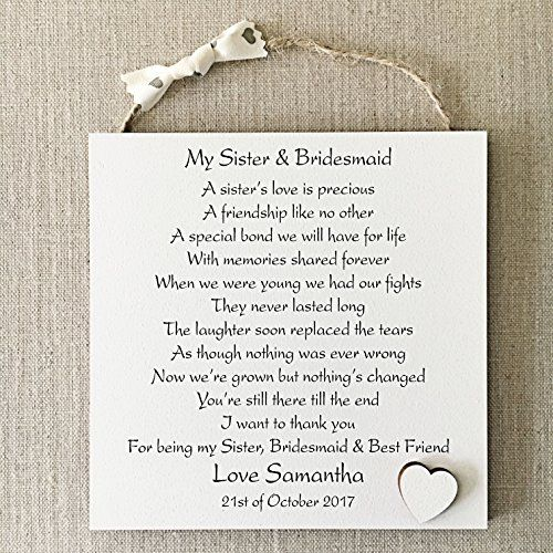 PERSONALISED BRIDESMAID THANK YOU WISH GIFT CARD