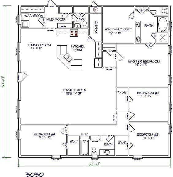Barndominium Floor Plan 4 Bedroom 2 Bathroom 50x50 Pole Barn House Plans Barndominium Floor Plans Floor Plan 4 Bedroom