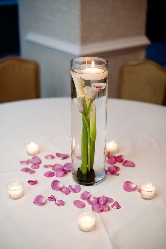 Ashlyn wes wedding simple centerpieces and rose petals
