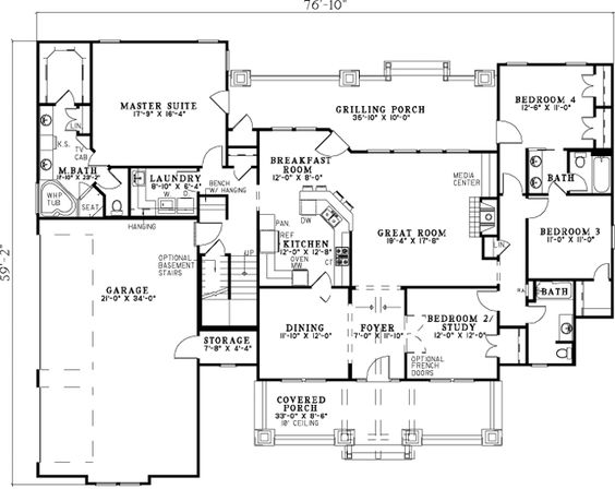 Bungalow style house plans 2373 square foot home 1 Four bedroom bungalow plan
