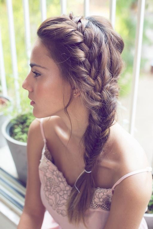 #frenchbraid on top, #fishtaibraidl on the bottom. Messy, yet perfect. #braid