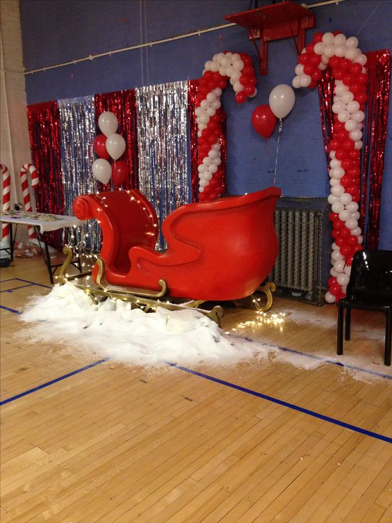 Christmas Party Scene Sleigh Red and White Balloons Snow