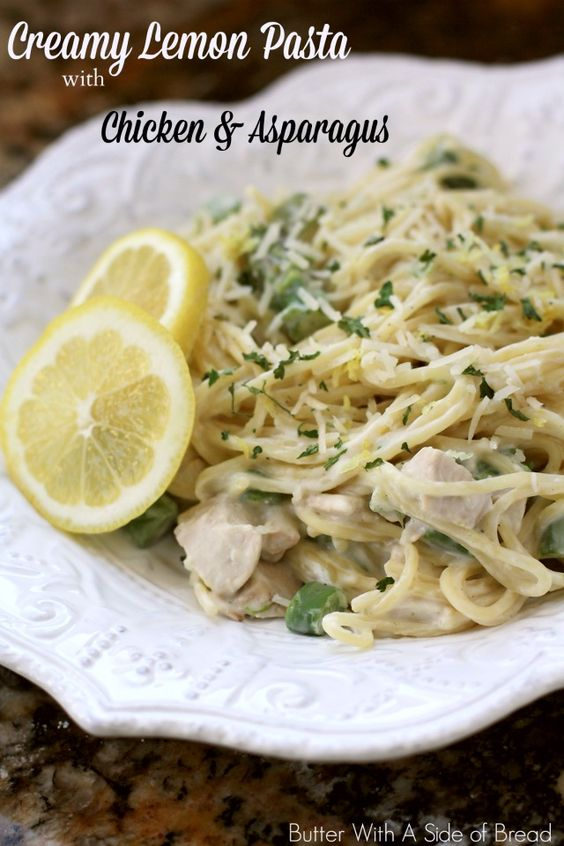 CREAMY LEMON PASTA WITH CHICKEN & ASPARAGUS: Butter With A Side of ...