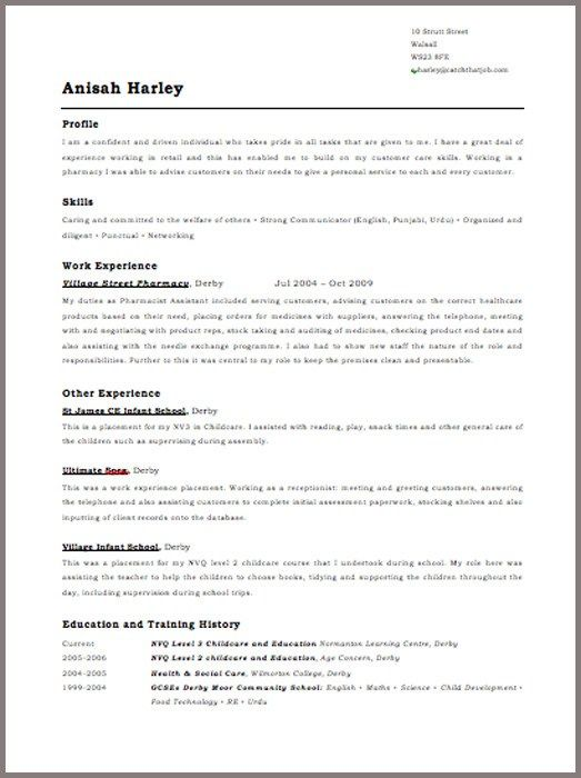 Free Resume Templates Uk Resume Examples Sample Resume Templates Basic Cv Template Cv Template Uk