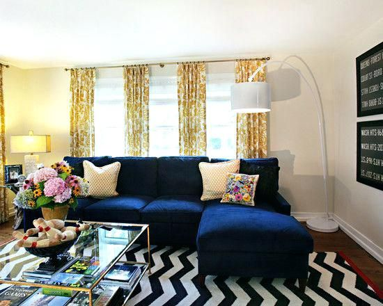 Royal Blue Couch Chevron Rug Navy Sofa Yellow Print Curtains More