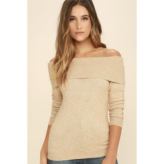 That's What Friends Are For Beige Off-the-Shoulder Sweater featuring polyvore, women's fashion, clothing, tops, sweaters, beige, rib knit sweater, off shoulder sweater, relaxed fit tops, long sleeve tops and off shoulder long sleeve top