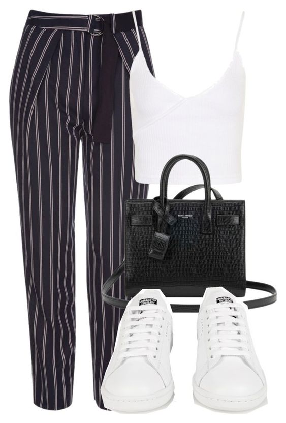"""""""Untitled #1453"""" by morggz ❤ liked on Polyvore featuring Topshop, Yves Saint Laurent and adidas #cluboutfits"""