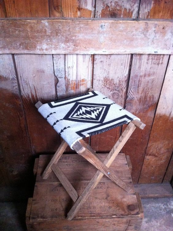 Vintage Oak Camping Stool, Pendleton Wool
