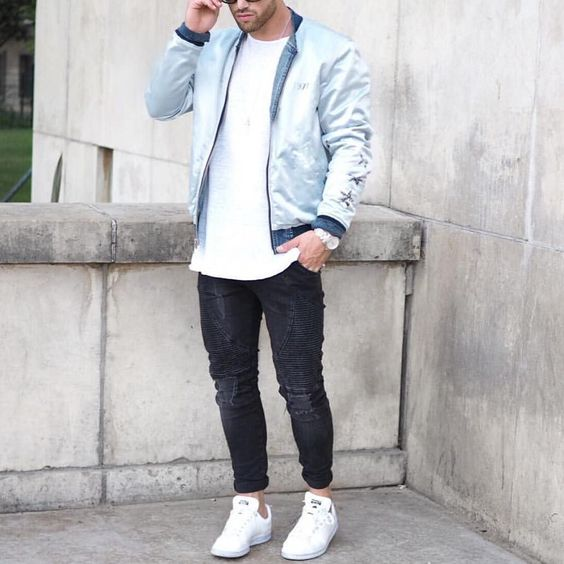 Blue @diesel #bomberjacket distressed jeans and white sneakers by @aligordon89 [ http://ift.tt/1f8LY65 ]