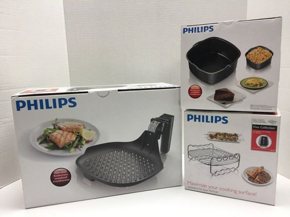 Philips #Airfryer 3 Lot Accessories Grill Pan Baking Dish Skewers Rack Air Fryer #Philips