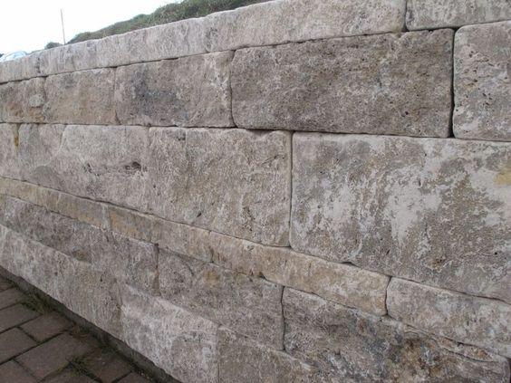 travertin stein mauer mauersteine grau trockenmauer steinmauer, Garten Ideen