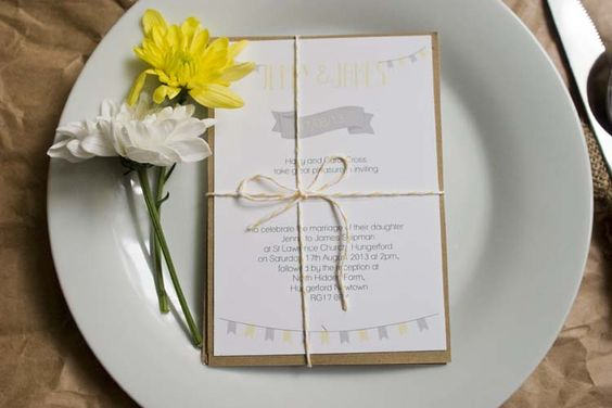 Rustic brown paper wedding illustrations - tied with yellow bakers twine!