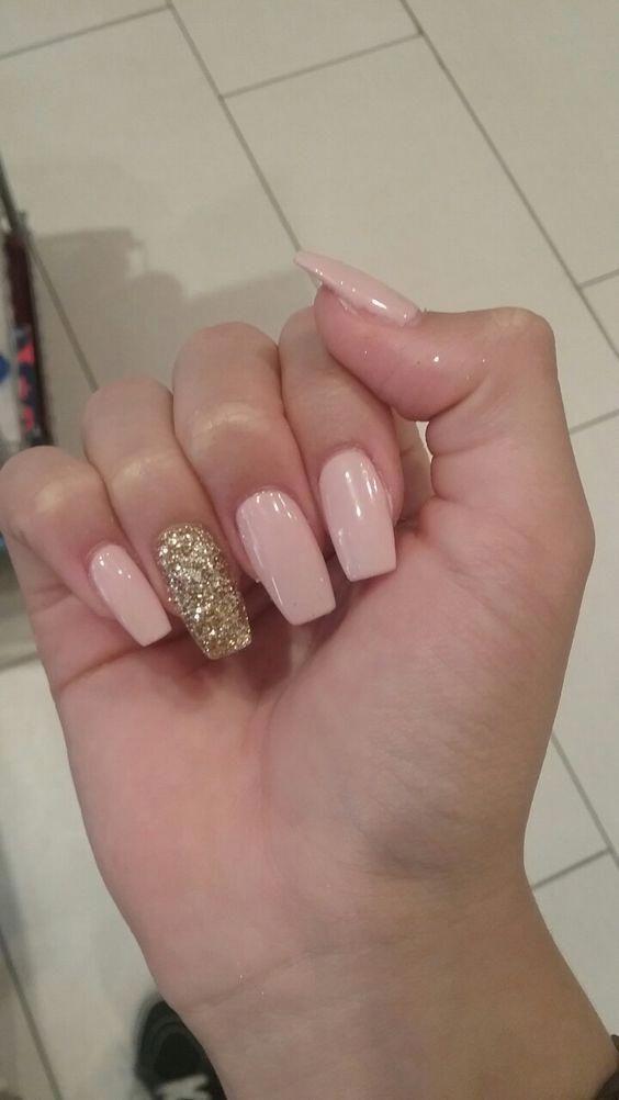 Gold And Blush Glitter Acrylic Nails