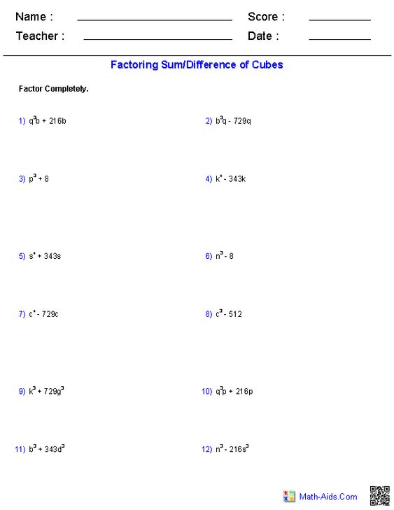 Factoring a Sum/Difference of Cubes Polynomial Functions ...