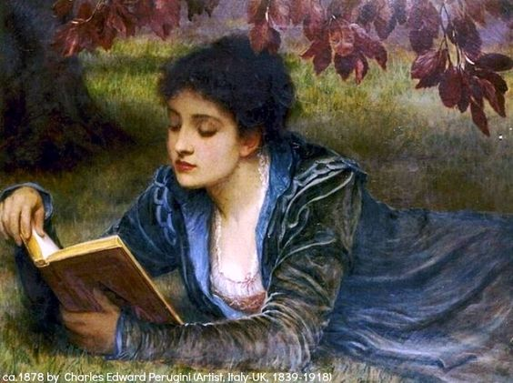 Idle Moments (ca 1878) by Charles Edward PERUGINI (Artist. Italy-UK, 1839 – 1918) via royal-painting. More on the artist: http://en.wikipedia.org/wiki/Charles_Edward_Perugini  http://onememoryaday.wordpress.com/  Victorian portrait.  Reading al fresco. The model is believed to be the artist's wife, Kate Periguni (1839-1929), novelist Charles Dickens' daughter. Owner/location of the original artwork unknown.: