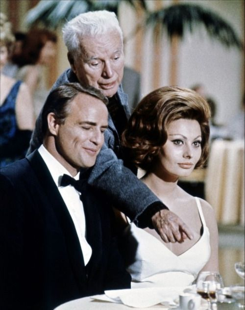 Marlon Brando, Charlie Chaplin, and Sophia Loren in 'A Countess From Hong Kong', 1967.