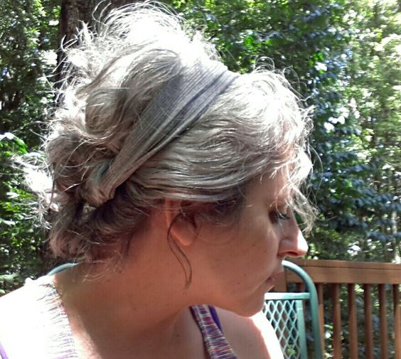 Messy, gray, casual updo