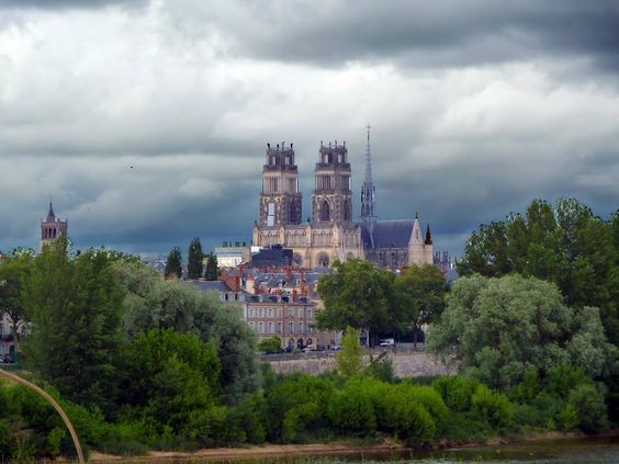 The Orleans Cathedral seen across the Loire river.