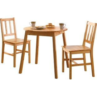 Buy pine round dining table and 2 chairs at for Buy round table