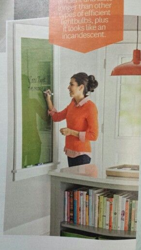 Better Homes & Gardens, May 2014, pg# 68. DIY Dry Erase Board. I especially like the lip on the bottom that is big enough to hold markers.