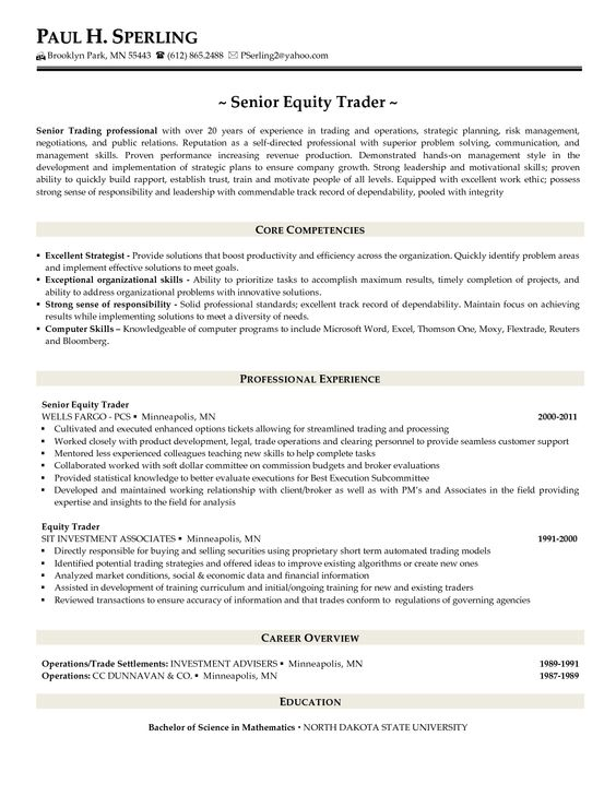 Proprietary Trading Resume Example - http\/\/wwwresumecareerinfo - equity research resume