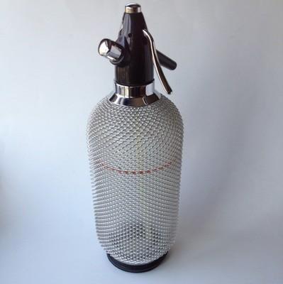 Vtg 50s ACC Siphon Seltzer Bottle Glass Silver Wire Mesh Czech Handmade Crystal  - 2