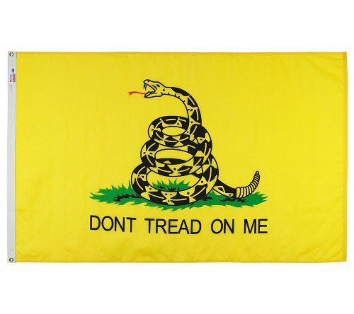 """Valley Forge Nylon Gadsden Flag, The Tea Party Flag, measures 3-Foot by 5-Foot by Valley Forge Flag. $28.76. Flag is 100-percent made in the u.s.a. Gorgeous and long lasting. Measures 3 foot by 5 foot. Brass grommets. 3-foot by 5-foot """"perma-nyl"""" nylon u.s. flag. Valley Forge Flag designs and constructs fabrics that are durable in the face of the sun, cold, and rain. Valley Forge Gadsen flag symbolizes a party's  values, honor, and glory; great to decorate your h..."""