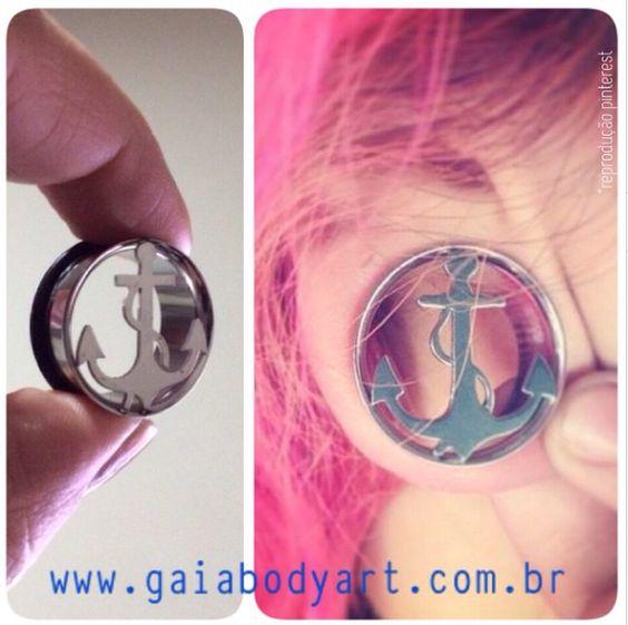 Alargador vazado de âncora ⚓️⚓️⚓️ flangeado com anel de borracha, de 8mm a 20mm http://www.gaiabodyart.com.br/alargador-vazado-ancora-aco-cirurgico-flangeado