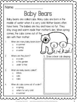 Baby Bears! Free reading comprehension passage! | KindergartenKlub ...