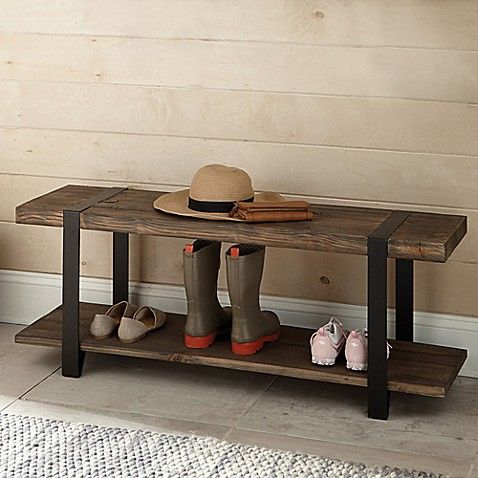 Alaterre Modesto Metal And Reclaimed Wood Entryway Bench Wood Entryway Bench Alaterre Furniture Reclaimed Wood Benches