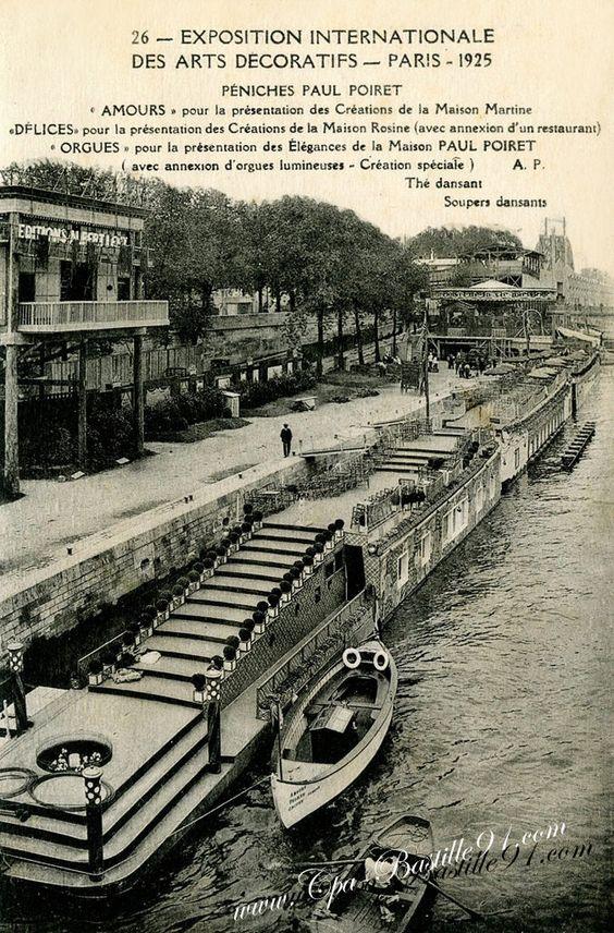 Exposition des arts décoratifs de Paris1925 - Les Péniches de Paul Poiret  - Cliquez sur la carte pour l'agrandir et en voir tous les détails