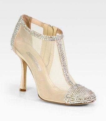 Oscar DE la Renta Embellished Satin and Mesh Ankle Boots   dressmesweetiedarling