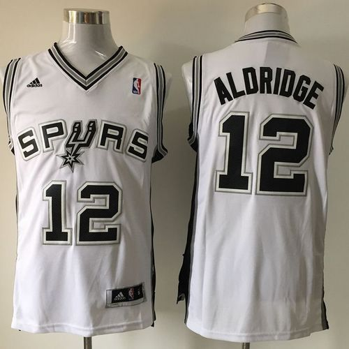 Spurs #12 LaMarcus Aldridge White Home Stitched NBA Jersey   Cheap