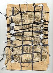 connecting the gaps II (Ines Seidel) Tags: net altered buch book pattern web holes yarn story loch garn weaving muster binding connect storytelling gaps lcher bookpage verbinden lcken buchseite vision:text=0744 vision:outdoor=0752 vision:sky=0588