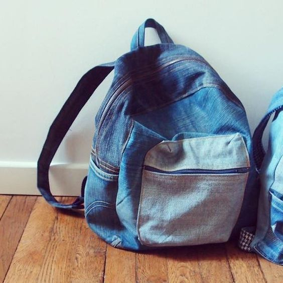 Denim backpack handmade with old pair of jeans